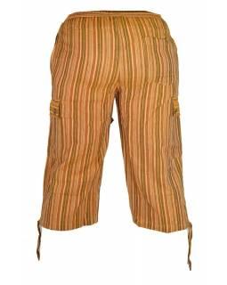 Hnědé pruhované tříčtvrteční unisex kalhoty s kapsami, elastický pas