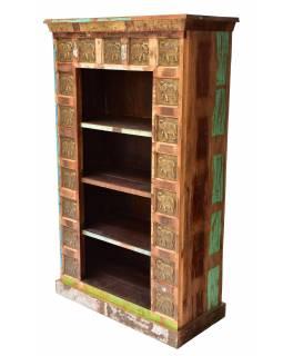 Knihovna z teakového dřeva zdobená reliéfy slonů, 90x40x150cm