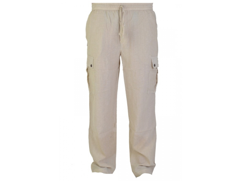 Béžové unisex kalhoty s kapsami, elastický pas
