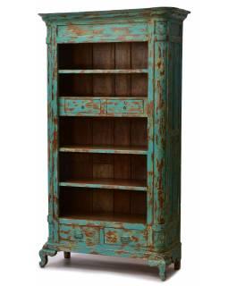 Knihovna z teakového dřeva, tyrkysová patina, 109x49x199cm
