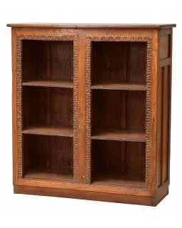 Knihovna z teakového dřeva, tyrkysová patina, 111x41x122cm