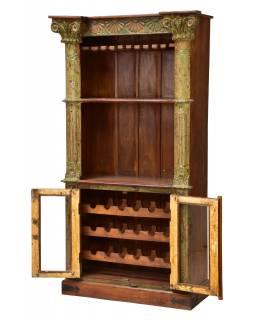 Skříň na víno z teakového dřeva, zelená patina, 107x52x197cm
