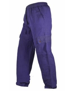 Fialové unisex kalhoty s kapsami, elastický pas