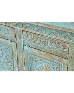 Komoda z mangového dřeva, ručně vyřezávaná dvířka, 195x42x93cm