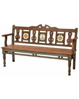Lavice z teakového dřeva zdobená keramickými dlaždicemi, 158x50x93cm