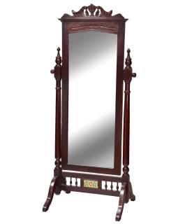Zrcadlo v rámu z teakového dřeva na stojanu, 78x61x177cm
