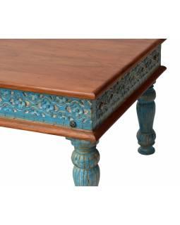 Konferenční stolek z teakového dřeva, ruční řezby, tyrkysová patina, 120x66x45cm