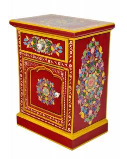 Noční stolek vyrobený z mangového dřeva, ručně malovaný, 45x30x60cm