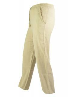 Unisex dlouhé béžové kalhoty s kapsami, pružný pas