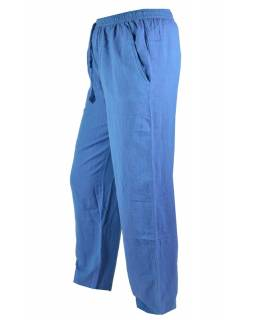 Unisex dlouhé modré kalhoty s kapsami, pružný pas