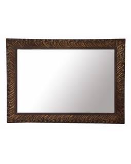 Zrcadlo v rámu z mangového dřeva, ručně vyřezávané, 110x3x78cm