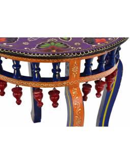 Čajový stolek z mangového dřeva, ručně malovaný, 50x50x45cm