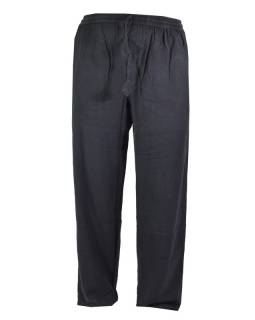 Unisex dlouhé černé kalhoty s kapsami, pružný pas