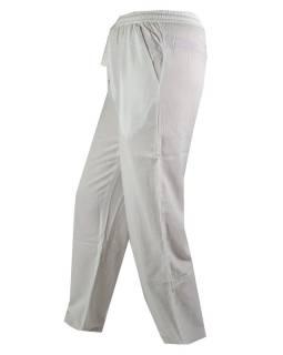 Unisex dlouhé bílé kalhoty s kapsami, pružný pas