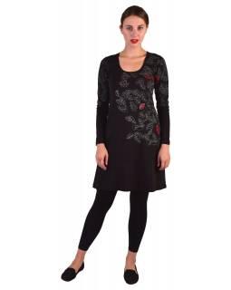 Krátké šaty s dlouhým rukávem, černé, potisk a výšivka listů, biobavlna