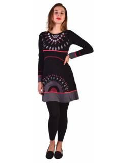 Krátké šaty s dlouhým rukávem, černé, potisk a výšivka mandaly