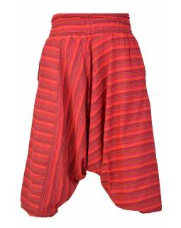 Červené pruhované turecké kalhoty, žabičkování v pase