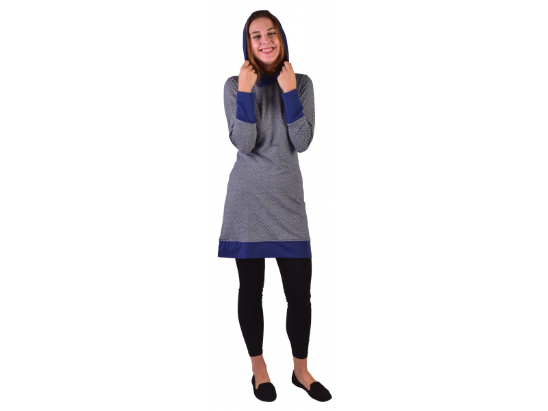 Mikinové šaty s dlouhým rukávem z biobavlny, modro-bílé, drobný potisk, kapuca