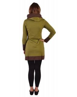 Mikinové šaty s dlouhým rukávem z biobavlny, zeleno-hnědé, drobný potisk, kapuca