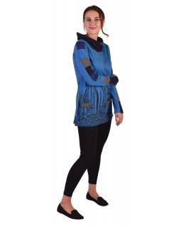 Delší modré tričko s dlouhým rukávem, biobavlna, potisk květin, límec