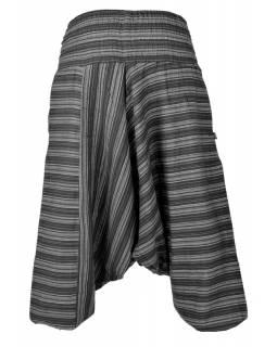 Turecké kalhoty, dlouhé, černé proužky, žabičkování v pase