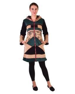 Černo-béžovo-zelený sametový kabátek s kapucí, patchwork a Chakra tisk