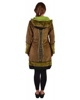 Khaki-zelený sametový kabátek s kapucí, patchwork a Chakra tisk-