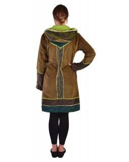 Khaki-zeleno-smaragdový sametový kabátek s kapucí, patchwork a Chakra tisk
