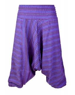 Fialové pruhované turecké kalhoty, žabičkování v pase
