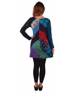 Krátké šaty s dlouhým rukávem, barevný patchwork, potisk