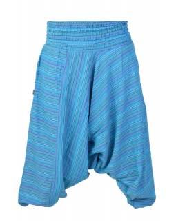 Modré pruhované turecké kalhoty, žabičkování v pase