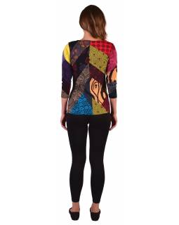 Multibarevné patchworkové tričko s 3/4 rukávem