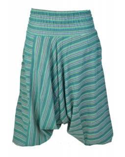 Turecké kalhoty, dlouhé, zelené proužky, žabičkování v pase