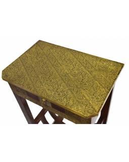 Noční stolek z palisandrového dřeva, mosazné kování, 45x30x75cm