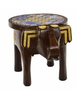 Stolička ve tvaru slona zdobená keramickými dlaždicemi, 50x37x38cm