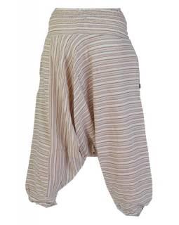 Turecké kalhoty, dlouhé, béžové, proužky, žabičkování v pase