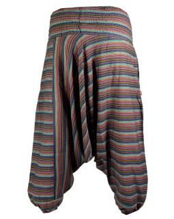 Multibarevné pruhované turecké kalhoty, žabičkování v pase