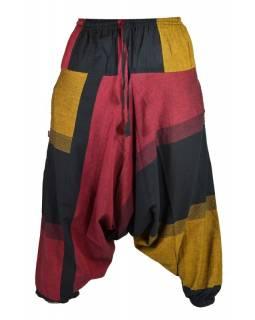 Černo vínovo oranžové turecké kalhoty, guma v pase, kapsy