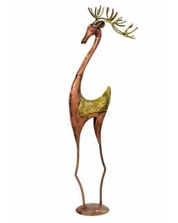 Socha jelena, kov, bronzová patina, 20x15x79cm