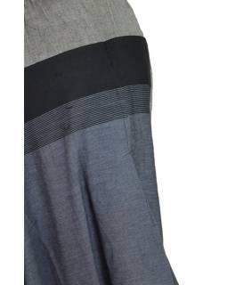 Černo šedé turecké kalhoty, guma v pase, kapsy