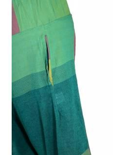 Zeleno hnědé turecké kalhoty, guma v pase, kapsy