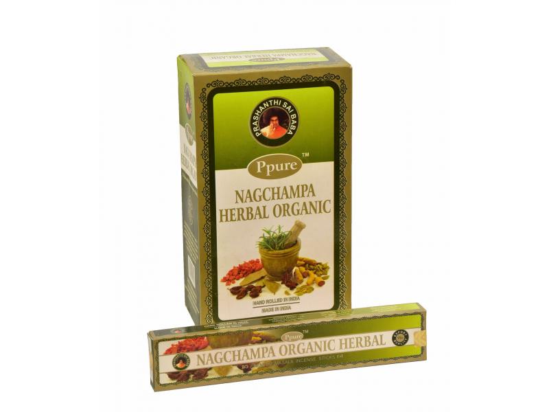 Vonné tyčinky, Nagchampa Herbal Organic, Ppure, 22cm, 15g
