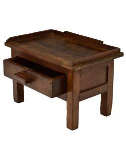 Starý kupecký stolek z teakového dřeva, 57x38x38cm