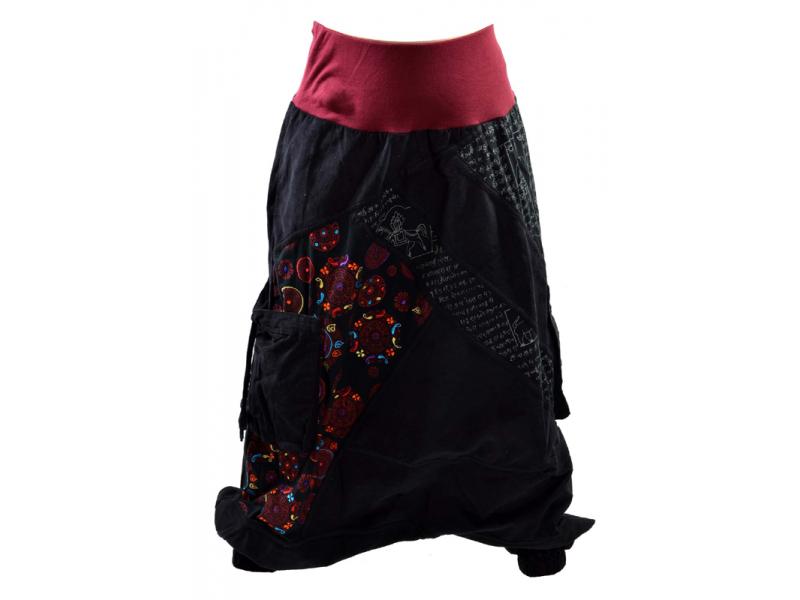 Dlouhé manžestrové turecké kalhoty, černo-vínové Chakra tisk a výšivka, kapsy