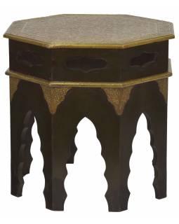 Stolička z akáciového dřeva, zdobená mosazným kováním, 45x45x45cm
