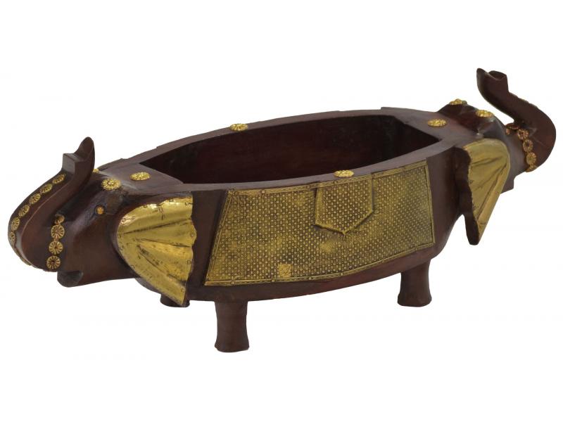 Dřevěná mísa, sloní hlavy, mosazné kování, 50x18x14cm