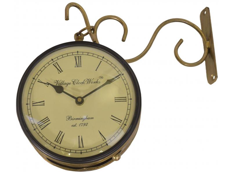 Oboustranné závěsné hodiny, zlatá, květinový motiv, 16cm