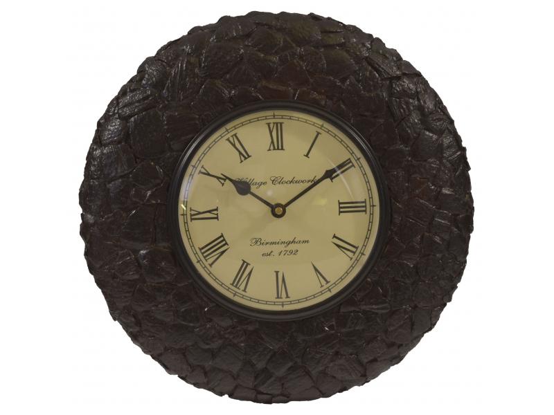 Hodiny na stěnu, ručně vyřezávané z mangového dřeva, 31cm