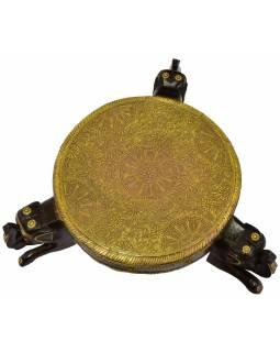 Čajový stolek z mangového dřeva, sloni, mosazné kování, 48x38x18cm