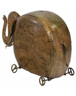 Kasička slon na kolečkách, mosazná patina, kov, 48x17x32cm